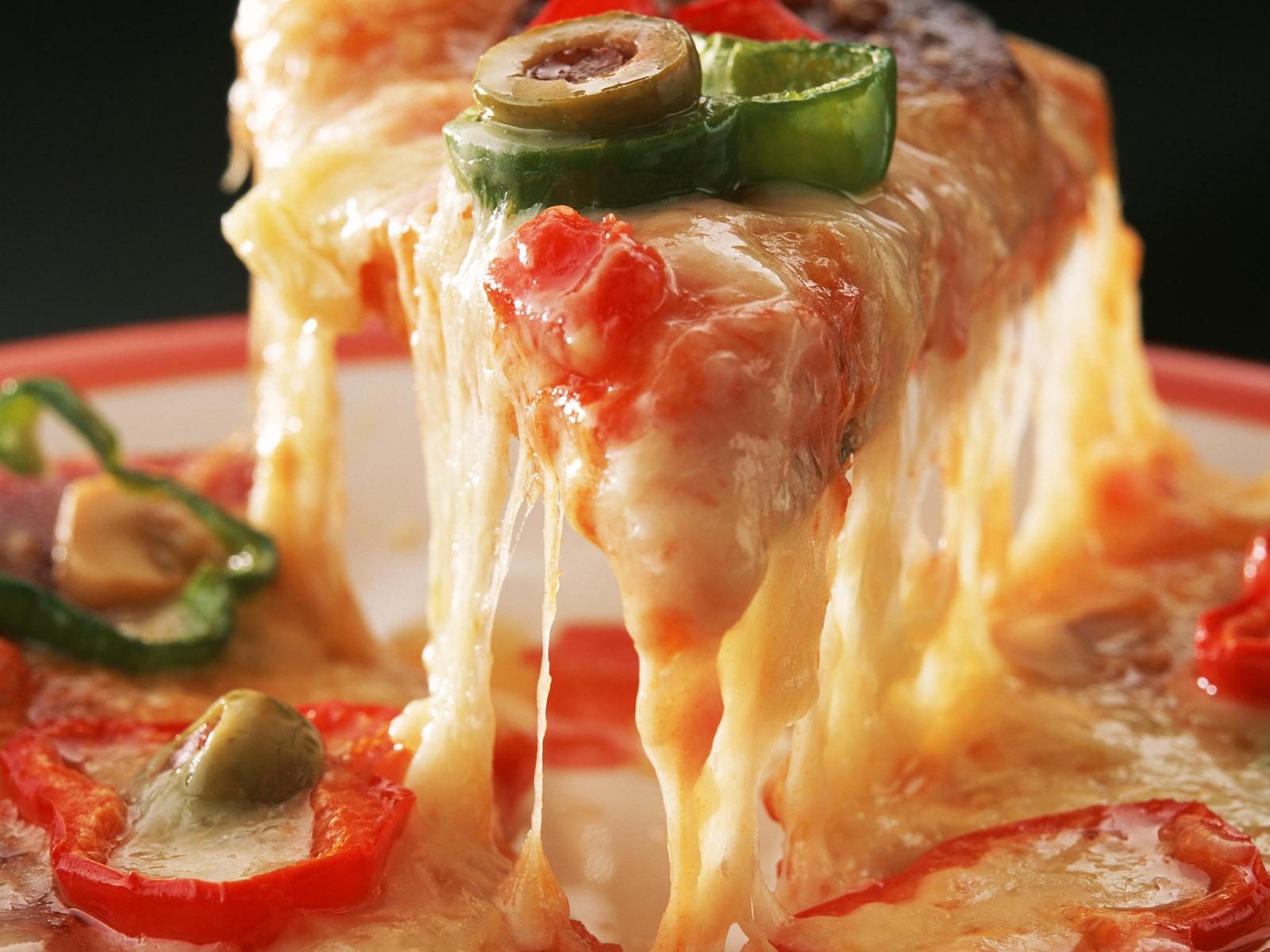 Картинка кусочки Пицца Сыры часть Кусок кусочек