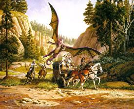 Фотографии Кит Паркинсон Драконы Лошади повозка