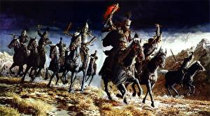 Картинки Кит Паркинсон Лошади Воители Нежить Бежит Фэнтези