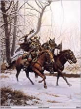 Обои для рабочего стола Keith Parkinson Воин Орки Лошадь Два Фэнтези