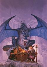 Обои Keith Parkinson Дракон Гном