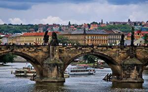 Обои Здания Чехия Мосты Прага Карлов мост город
