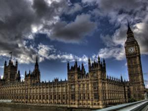 Фотография Великобритания Англия Небо Лондоне Облако Биг-Бен Города