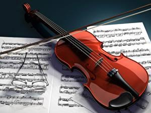 Фотография Музыкальные инструменты Скрипка Ноты