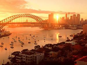 Картинка Мосты Австралия Небо Рассветы и закаты Сидней Города