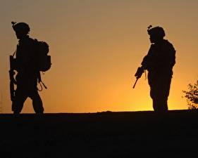 Обои Солдаты Силуэт Армия