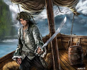 Обои Пираты Мужчины Сабли Шляпа Фантастика