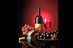 Фотография Сервировка Напитки Фрукты Виноград Вино Продукты питания