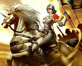 Обои Воины Лошади Фантастика Девушки