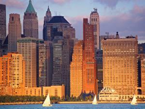 Фото Небоскребы Штаты Нью-Йорк Манхэттен Города