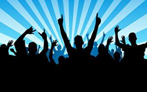 Картинка Векторная графика Силуэт Рок концерт