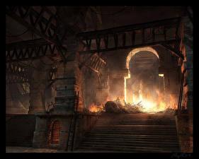 Обои Арка Лестница разрушенный храм Фэнтези фото