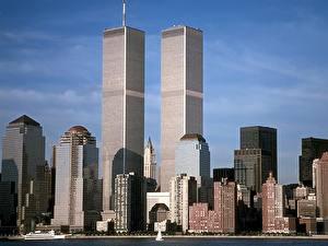 Картинка Небоскребы Штаты Нью-Йорк Манхэттен Города