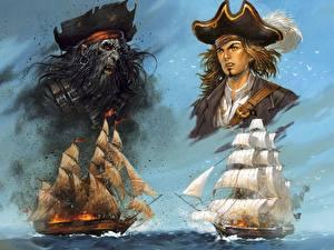 Фотографии Пираты Корабли Парусные Шляпа Фэнтези
