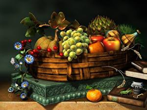 Фото Фрукты Накрытия стола Натюрморт Пища