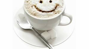 Картинки Напитки Кофе Капучино Смайлы Еда