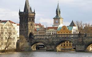 Фотографии Мост Чехия Башни Города
