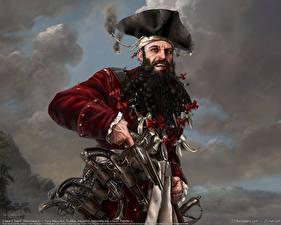 Обои Пираты Мужчины Пистолеты Шляпа Фэнтези