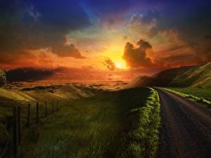 Фотография Дороги Рассветы и закаты Холмы Природа