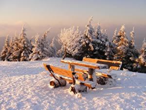 Картинка Времена года Зима Скамейка Стол Природа