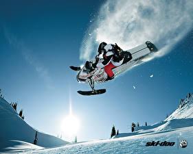 Фотография Снегоходы Летит Снега