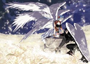 Фото Ангел 2 Юноша влюбленная пара ангелов Аниме