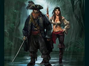 Картинка Пираты Мужчины Шляпа старый и его помощница Фэнтези Девушки