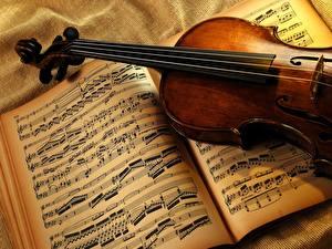 Обои Музыкальные инструменты Ноты скрипка