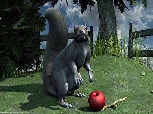 Фото Грызуны Белка белка с яблоком 3D Графика Животные