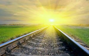 Картинка Железные дороги Рельсах Лучи света