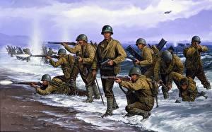 Картинки Рисованные Солдаты Военная каска Высодка десанта