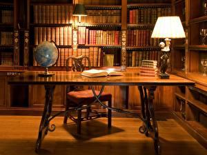 Фото Интерьер Стол Библиотека Лампа