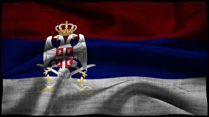 Картинка Флаг Сербия Двуглавый орёл