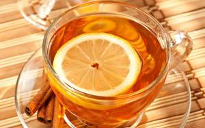 Картинки Напиток Чай Лимоны Продукты питания