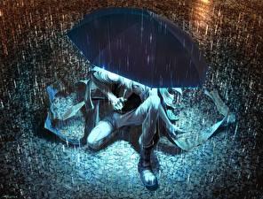 Картинки Дождь Зонт Аниме