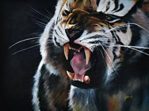 Обои Большие кошки Рисованные Клыки Оскал Зубы Животные фото