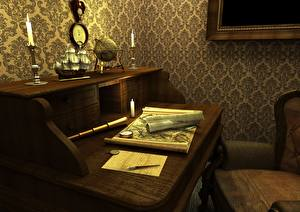 Картинка Интерьер Старинные Стол Дизайн 3D Графика