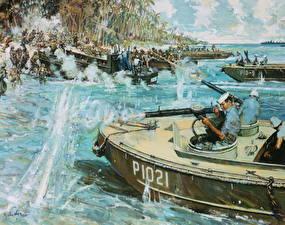 Фотография Рисованные Солдаты Десантники