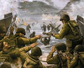 Картинки Рисованные Солдат Высодка десанта военные