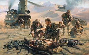 Обои Рисованные Солдат Десант