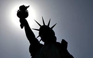Фотографии Штаты Статуя свободы Силуэта город
