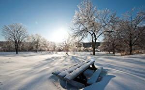 Обои Сезон года Зимние Небо Снег Скамья Природа