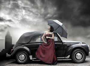 Фотография Платье девушка Автомобили