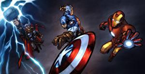 Картинка Герои комиксов Капитан Америка герой Железный человек герой Тор герой Фэнтези