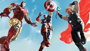 Картинки Герои комиксов Капитан Америка герой Железный человек герой Тор герой Фэнтези