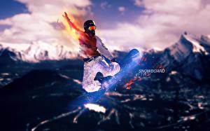 Фотографии Лыжный спорт Сноуборд Спорт
