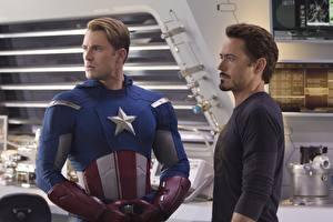 Картинки Мстители (фильм, 2012) Robert Downey Jr Капитан Америка герой Крис Эванс Фильмы