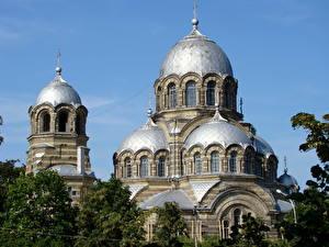 Фото Храмы Вильнюс Литва Купол Знаменская церковь Города