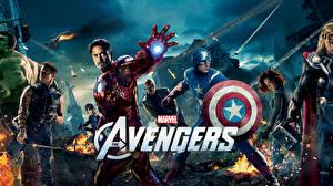 Фотографии Мстители (фильм, 2012) Железный человек герой Капитан Америка герой Chris Evans Фильмы