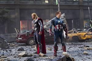 Картинки Мстители (фильм, 2012) Chris Hemsworth Тор герой Капитан Америка герой Chris Evans Фильмы